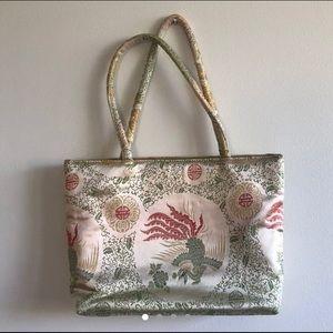 Vintage Silk/Satin Asian Print Shoulder Bag